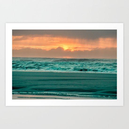 Turquoise Ocean Pink Sunset Art Print