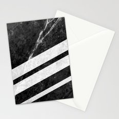 Black Striped Marble Stationery Cards