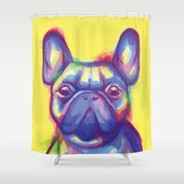 FRENCH BULLDOG COLORFUL WATERCOLOR ILLUSTRATION Shower Curtain