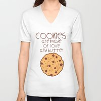 cookies V-neck T-shirts featuring Cookies by Mim sh.