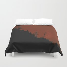 Into The Woods - Dark Forest - Red Duvet Cover