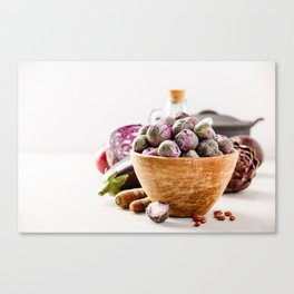 Fresh organic purple fruits and vegetables Canvas Print