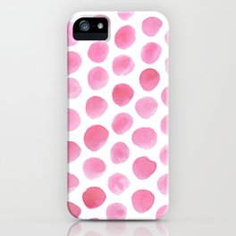 Pink Polka Dot Watercolour iPhone Case