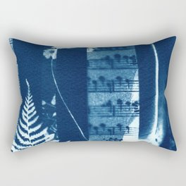 Music of the Wild Flowers, collage, blue print, cyanotype print, wall art, wall decor Rectangular Pillow