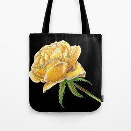 Yellow Rose on black Tote Bag