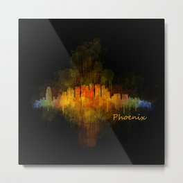 Phoenix Arizona, City Skyline Cityscape Hq v4 Dark Metal Print