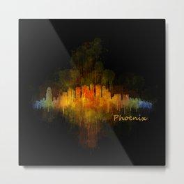 Phoenix Arizona, City Skyline Cityscape Hq v4 Dark Metal Print