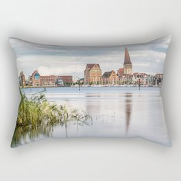 View over the river Warnow to Rostock Rectangular Pillow