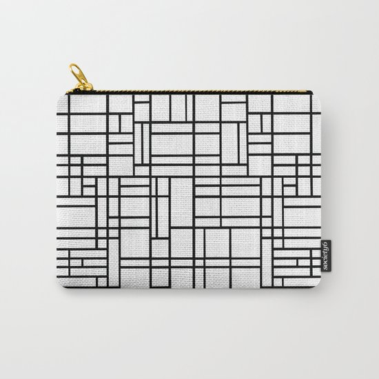 Map Outline Black on White Carry-All Pouch
