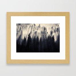 Borealis Forest in smoke Framed Art Print