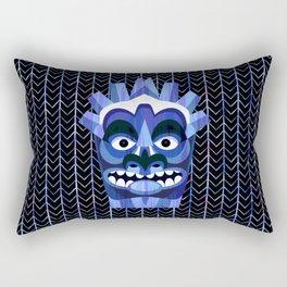 Blue Tiki Mask Rectangular Pillow