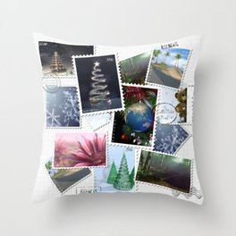 Mixed Stamps & Postage Throw Pillow