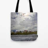 rileigh smirl Tote Bags featuring At the Beach by Rileigh Smirl