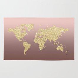 Gold Glitter on Rose Gold World Map Art Rug
