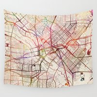 dallas Wall Tapestries featuring Dallas by MapMapMaps.Watercolors
