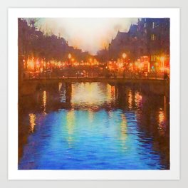 Amsterdam Street Lights over the Canals Art Print