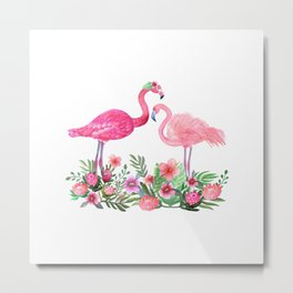 Pink Flamingo Watercolor Metal Print