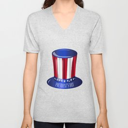 Presidents Day Uncle Sam Flag Hat Unisex V-Neck