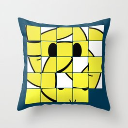 Acid Smiley Shuffle Puzzle Throw Pillow