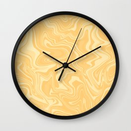 Yellow Liquid Marble Wall Clock