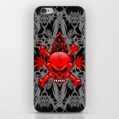 Red Fire Skull with Tribal Tattoos iPhone Skin
