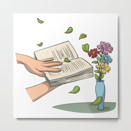 Book reading with flowers and fallen leaves Metal Print