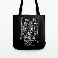 lyrics Tote Bags featuring Lettering Lyrics by Insait