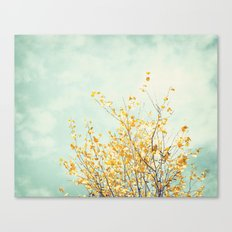 Yellow Tree Leaves Mint Sky Photography, Nature Turquoise Teal Gold Aqua Canvas Print