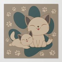 mew Canvas Prints featuring Mama, Mew...Mew... by HK Chik