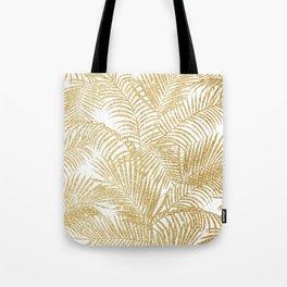 Elegant faux gold glitter tropical plants pattern Tote Bag