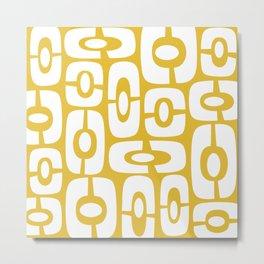 Mid Century Modern Cosmic Abstract 244 Yellow Metal Print