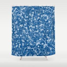 Lapis Blue Polka Dot Bubbles Shower Curtain