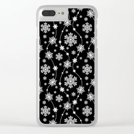 Festive Black and White Snowflake Pattern Clear iPhone Case