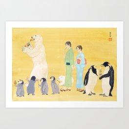 Penguin and Polar Bear in JAPAN Art Print