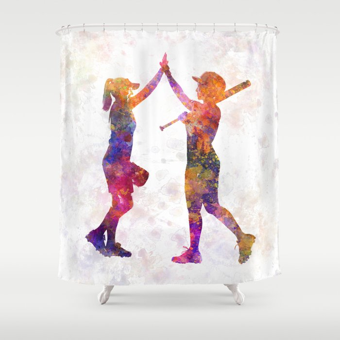Women Playing Softball 01 Shower Curtain