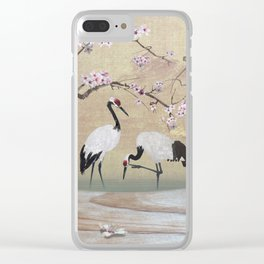 Cranes Under Cherry Tree Clear iPhone Case