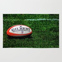 rugby Area & Throw Rugs featuring Rugby Time by Biff Rendar
