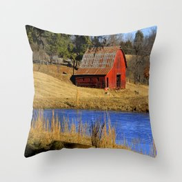 Country Red Barn, and Cobalt Blue Water Throw Pillow