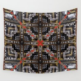 no. 166 black white red gold pattern Wall Tapestry