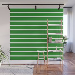 Horizontal Lines (White/Forest Green) Wall Mural