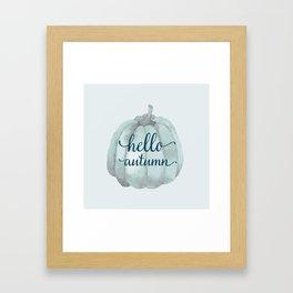 hello autumn blue pumpkin Framed Art Print