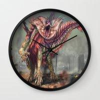 kaiju Wall Clocks featuring Fringehead Kaiju by Rushelle Kucala Art