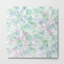 Pastel pink lavender green watercolor tropical leaves Metal Print