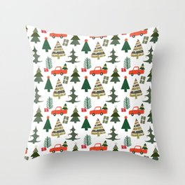 Christmas Tree / Truck / Vintage / Retro / Fir / Spruce / Winter Wonderland / Pine Tree Throw Pillow