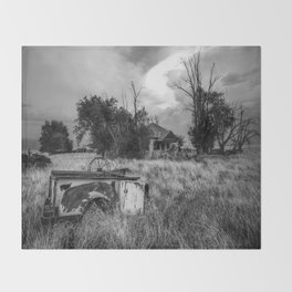 Half Truck - Rusty Old Pickup Bed and Abandoned House in Oklahoma Panhandle Throw Blanket