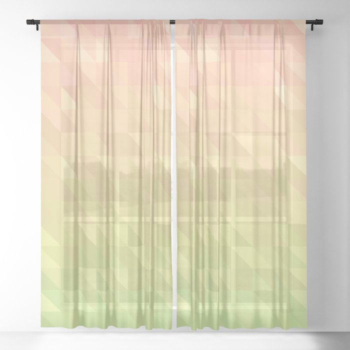 Pink and Green - Flipped Sheer Curtain