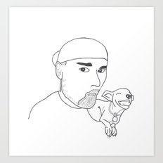 A boy and his dog. Art Print