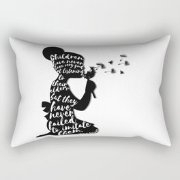 Children have never been very good at listening to their elders, but they have never failed to imita Rectangular Pillow