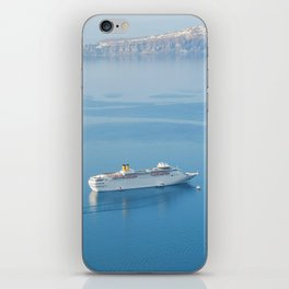 Cruise liner at the sea near Santorini island, Greece iPhone Skin