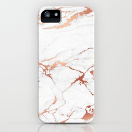 White rose-gold marble iPhone Case